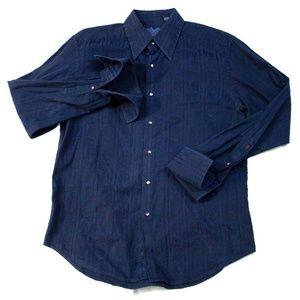 Robert Graham Mens Long Sleeve Button Front Cuff L
